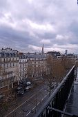Cloudy day in Paris city