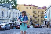 Girl Tourist In Kiev