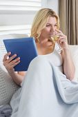 Happy blonde relaxing on the couch with glass of white wine and tablet pc at home in the living room