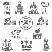 picture of bbq party  - Bbq grill label steak fish and meat restaurant menu set isolated vector illustration - JPG