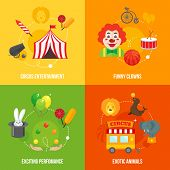 foto of circus clown  - Four retro travel circus funny clown entertainment performance with exotic animals icons composition concept flat vector illustration - JPG