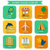 Tourist Places Icon Set