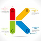 creative alphabet 'K' info-graphics design concept vector