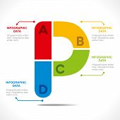 creative alphabet 'P' info-graphics design concept vector