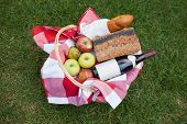 Picnic basket of red wine and bread on the grass