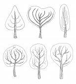 Set Of Six Hand - Drawn Trees