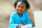 Afro Student Doing Schoolwork.