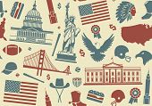 Seamless background with symbols of the USA