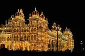 Mysore Palace in India illuminated at night