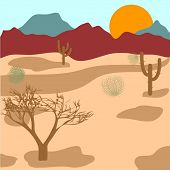Desert, mountains, cactuses and tumbleweed