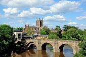 image of hereford  - View of the Cathedral the Wye Bridge and the River Wye Hereford Herefordshire England UK Western Europe - JPG