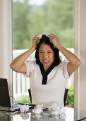 Mature Woman Ripping Work Papers In Anger