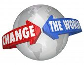 Change the World arrows around Earth solving problems helping or assistance