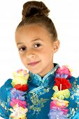 Cute Girl Wearing A Chinese Dress And A Lei