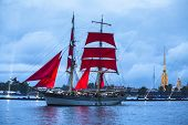 ST.PETERSBURG, RUSSIA - JUN 20, 2014: Celebration Scarlet Sails show during the White Nights Festiva