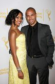 LOS ANGELES - JUN 19:  Mishael Morgan, Bryton James at the ATAS Daytime Emmy Nominees Reception at t