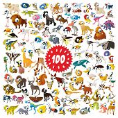 100 vector cartoon animals