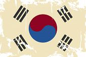 South Korean grunge flag. Vector illustration
