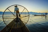 Silhouette Fishermen In Inle Lake At Sunrise, Shan State, Myanmar