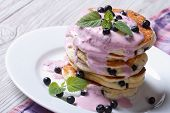 Healthy Breakfast Of Blueberry Pancake With Berry Cream
