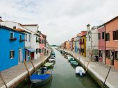 Burano Island Canal With Colorful Houses, Venice