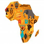 foto of african mask  - African ethnic background with illustration of map - JPG