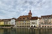 Embankment Of Reuss River In Lucerne