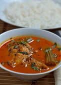 Trevally jest fish curry with white rice