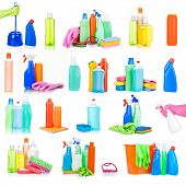 cleaning and sanitation products studio collection isolated
