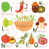 Very Cute Alphabet Of Fruit And Vegetables. I, J, K, L,m, N ,o,p,q Letters.