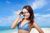 Bikini Woman With Camera