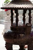 Incense Burner With Temple In Chinese Temple In Thailand