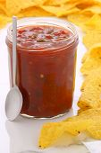 Delicious Hot Salsa Dip And Nachos