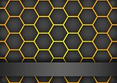 Modern black background with hexagon