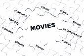 Movies White Puzzle Pieces Assembled