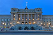 Library of Congress building at night  - Washington DC United States