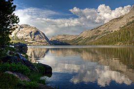 stock photo of polly  - A reflection on Tenaya Lake Yosemite National Park - JPG