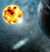planets with shining stars in space