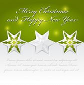 Abstract vector Christmas background with origami stars for an invitation, card, greetings or postcards.