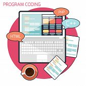 Flat design concept of program coding