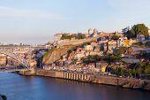 Bridge through River Douro in the city of Porto