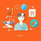 Dentist in uniform with instrument on workplace