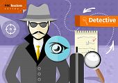 picture of criminology  - Profession series with young mustached male detective in hat - JPG