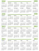 Calendar for  2010, 2011, 2012, 2013