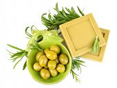 Bars of natural soap with rosemary and olive oil, isolated on white