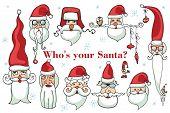 Santa Claus face set