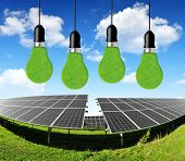 Solar energy panels with bulbs