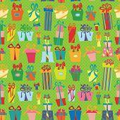 Gift box seamless pattern.Flat Doodle
