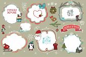 Christmas Doodles set.Labels,badges  with holiday icons