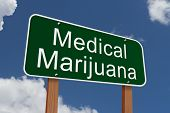 picture of marijuana  - Medical Marijuana Sign Green highway sign with words Medical Marijuana with sky background - JPG